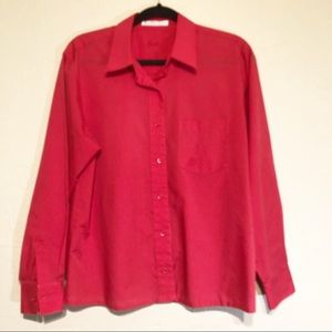 Foxcroft Red Button Down Wrinkle Free Shirt 12